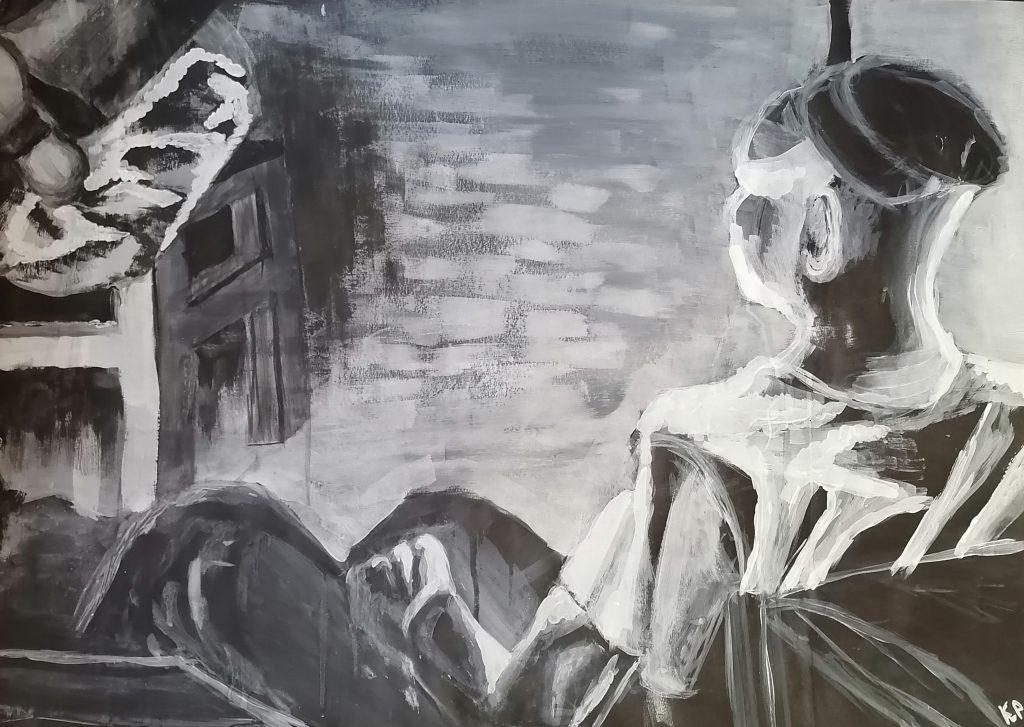 Czarnobiały obraz autorstwa Karola Pabicha, przedstawiający mężczyznę wpatrującego się przed siebie