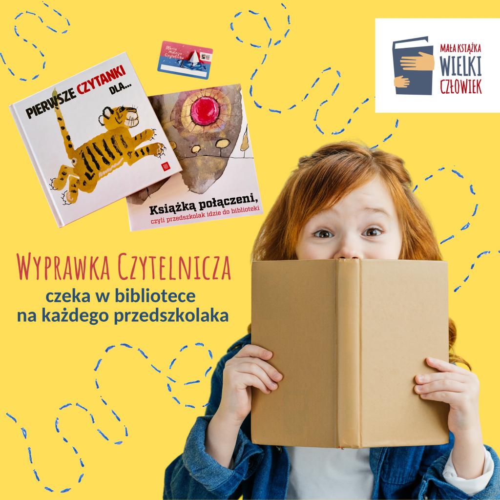 Grafika ilustrująca akcję, na niej wyprawka czytelnicza i dziewczynka spoglądająca zza książki.