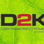 Napis D2K Dzień darmowego Komiksu 2021 na tle zielonego liścia